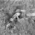 Private Edmund Arsenault of The West Nova Scotia Regiment  aiming a PIAT anti-tank weapon from a slit trench near Ortona, Italy, 10 January 1944.