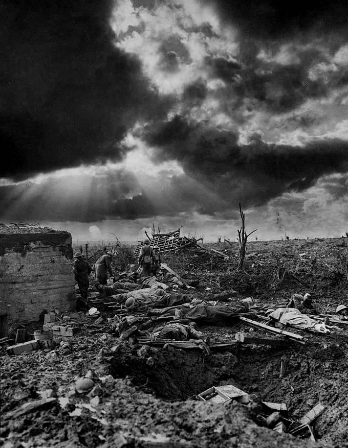 "The dawn of Passchendale. The Relay Station near Zonnebeke Station. A composite image by photographer Captain James Francis ""Frank"" Hurley."